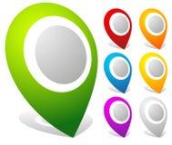indicatori audaci della mappa 3d, perni della mappa in 7 colori illustrazione vettoriale