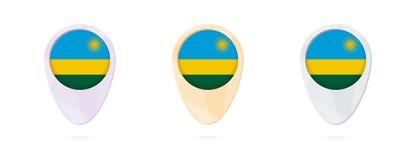 Indicatori con la bandiera del Ruanda, 3 versioni della mappa di colore royalty illustrazione gratis