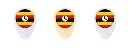 Indicatori con la bandiera dell'Uganda, 3 versioni della mappa di colore illustrazione di stock
