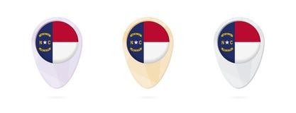 Indicatori con la bandiera della Nord Carolina dello stato USA, 3 versioni della mappa di colore illustrazione vettoriale