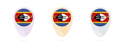 Indicatori con la bandiera dello Swaziland, 3 versioni della mappa di colore royalty illustrazione gratis