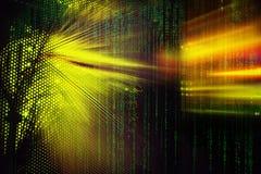 Indicatori della luce di codice della matrice sul centro dati dell'elaboratore centrale nello scuro Immagine Stock Libera da Diritti