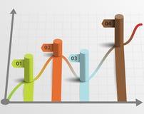 Indicatori di presentazione di dati del modello di infographics delle colonne Fotografia Stock Libera da Diritti