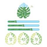 Indicatori di stato verdi differenti con le foglie tropicali Fotografie Stock