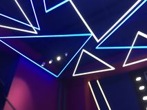 Indicatori luminosi al neon blu immagine stock libera da diritti