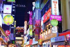 Indicatori luminosi al neon di Seoul Fotografie Stock Libere da Diritti