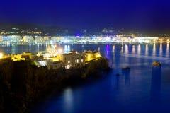 Indicatori luminosi blu di notte del mare della porta della città di Ibiza Fotografie Stock Libere da Diritti
