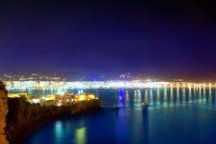 Indicatori luminosi blu di notte del mare della porta della città di Ibiza Immagini Stock Libere da Diritti