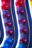 Indicatori luminosi blu, viola e dentellare Fotografia Stock Libera da Diritti