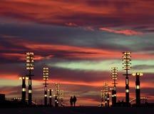 Indicatori luminosi del cielo e della città di sera Immagini Stock Libere da Diritti