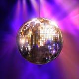 Indicatori luminosi del partito con la sfera della discoteca immagine stock