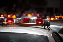 Indicatori luminosi del volante della polizia Immagini Stock Libere da Diritti