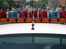Indicatori luminosi del volante della polizia Fotografia Stock