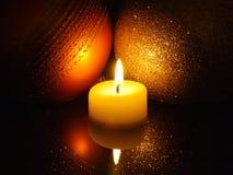 Indicatori luminosi della candela di natale Fotografia Stock