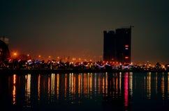 Indicatori luminosi della città fotografia stock