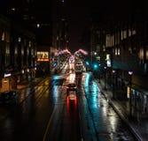 Indicatori luminosi della città alla notte Fotografie Stock Libere da Diritti