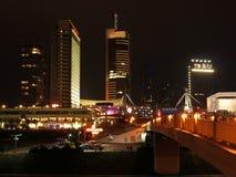 Indicatori luminosi della città dei grattacieli Fotografia Stock
