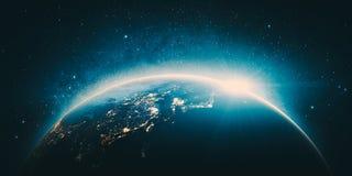 Indicatori luminosi della città dell'Asia Elementi di questa immagine ammobiliati dalla NASA Immagini Stock