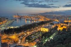 Indicatori luminosi della città di Malaga - vista aerea Immagine Stock