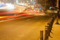 Indicatori luminosi della città di notte Immagine Stock
