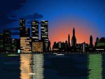 Indicatori luminosi della città, paesaggio urbano di vettore Royalty Illustrazione gratis
