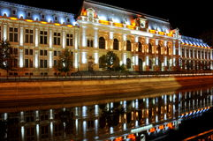 Indicatori luminosi di Bucarest entro la notte Immagini Stock Libere da Diritti