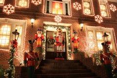 Indicatori luminosi di natale a Brooklyn Fotografia Stock