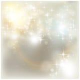Indicatori luminosi di natale d'argento Fotografia Stock