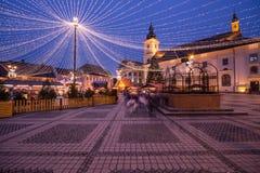 Indicatori luminosi di natale nella città Fotografia Stock Libera da Diritti
