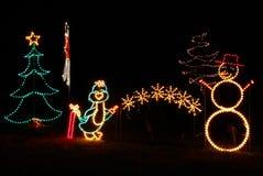 Indicatori luminosi di natale - pinguino, pupazzo di neve, albero Fotografie Stock Libere da Diritti