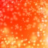 Indicatori luminosi di natale sui fiocchi di neve rossi della priorità bassa Fotografie Stock
