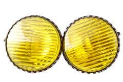 Indicatori luminosi di nebbia gialli dell'automobile fotografie stock