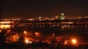 Indicatori luminosi di notte di Belgrado fotografia stock libera da diritti