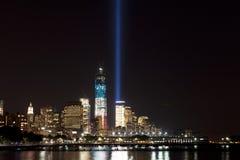 Indicatori luminosi di tributo dell'11 settembre Fotografie Stock Libere da Diritti