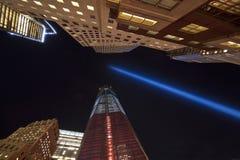 Indicatori luminosi di tributo dell'11 settembre Fotografia Stock Libera da Diritti