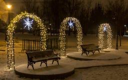 Indicatori luminosi e decorazioni di natale Fotografia Stock Libera da Diritti