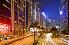 Indicatori luminosi e notte di Hong Kong Immagini Stock