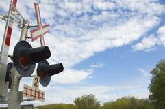 Indicatori luminosi e segno del treno Immagini Stock Libere da Diritti