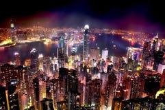 Indicatori luminosi luminosi sulla città Immagini Stock Libere da Diritti