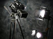 Indicatori luminosi, macchina fotografica, azione! Immagine Stock
