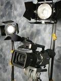 Indicatori luminosi, macchina fotografica, azione! Fotografia Stock