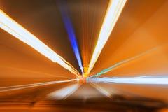 Indicatori luminosi vaghi del tunel Fotografia Stock