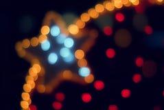 Indicatori luminosi variopinti e stella della decorazione Immagini Stock Libere da Diritti