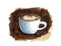 Indicatori rapidi di schizzo del punto della tazza da caffè calda Fotografia Stock Libera da Diritti
