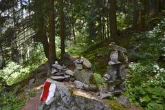 Indicatori sulla traccia di escursione Fotografia Stock