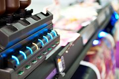 Indicators of cartridges on plotter stock photos