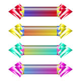 Indicators in different ways with gems on each side of indicator Stock Photo