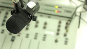 The indicators on the mixer. Digital mixing console with volume meter, volume indicator, closeup stock video