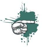 Indicazione della mano su priorità bassa verde Immagine Stock