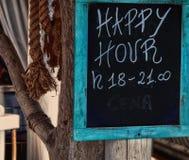 Indicazione di happy hour Fotografia Stock Libera da Diritti